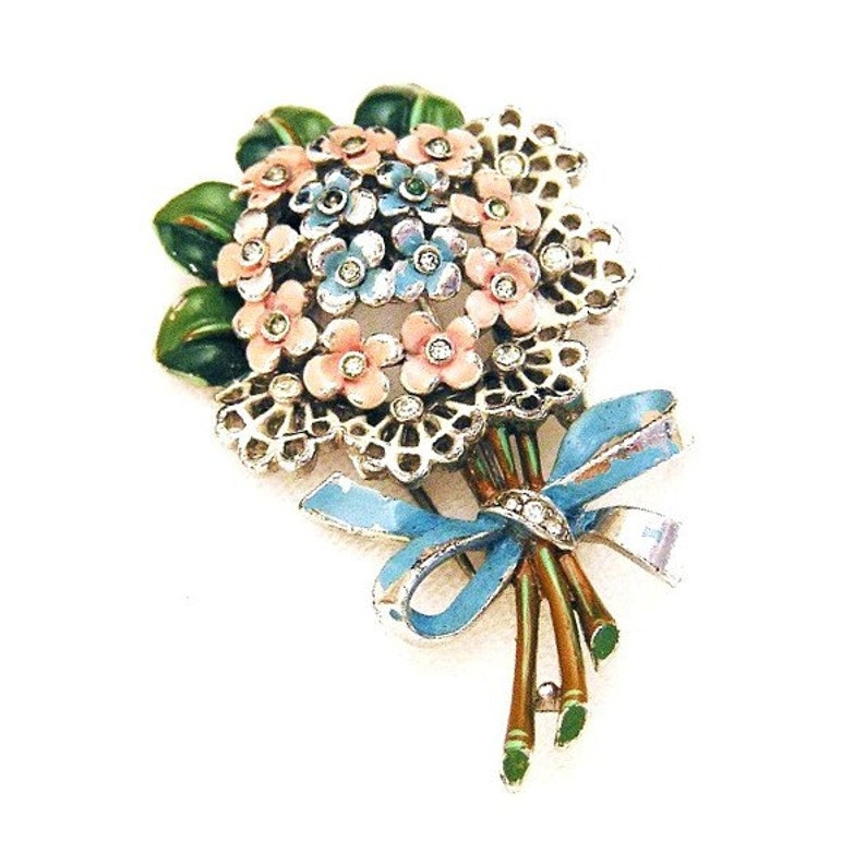 Trifari 1941 Pink and Blue Posey Flower Clip image 0
