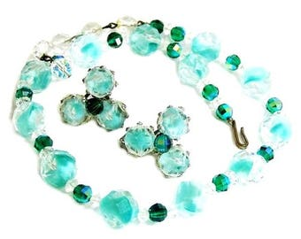 Teal Blue Green Givre Glass Vintage Demi Parure