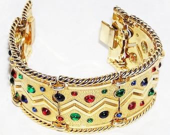 D'Orlan Boucher Jeweled Cabochon Cuff Bracelet