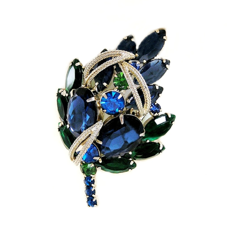 Blue and Green Glass Cabochons and Rhinestone Brooch image 0
