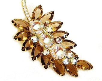 Juliana DeLizza and Elster Amber and Clear Scooped Out Leaf Brooch