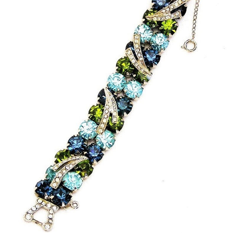 Double Row Blue Green Aqua Rhinestone Bracelet image 0