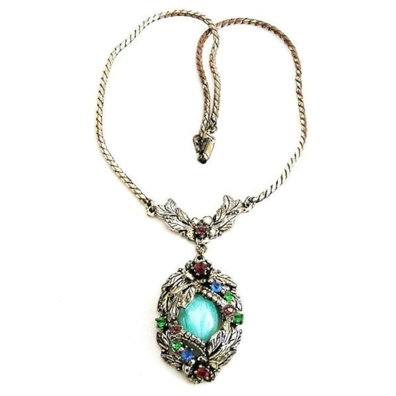 Art Deco Aqua Glass With Jewel Tone Rhinestones Pendant image 0