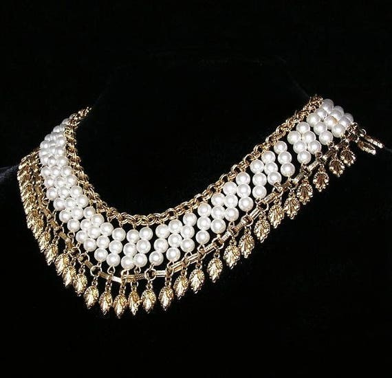 Egyptian Revival Pearl Collar Necklace - image 5