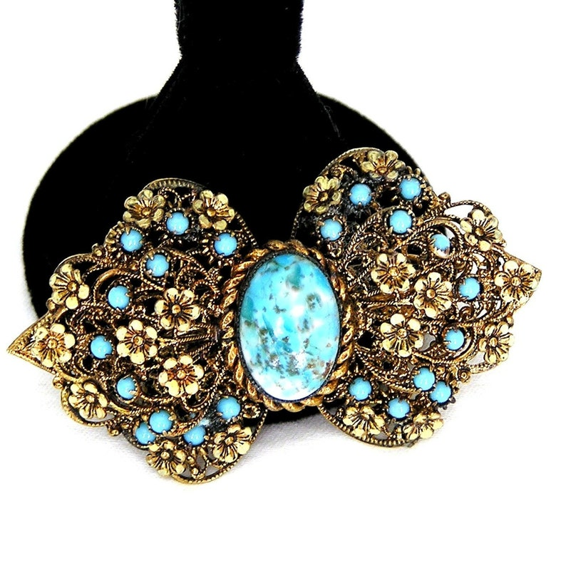 Art Deco Czech Turquoise Brooch With Pale Yellow Flowers image 0