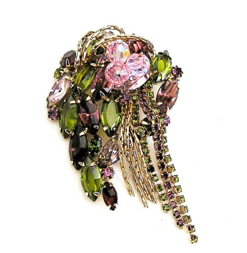 Purple with Olive Green and Pink Glass Bead Brooch image 0