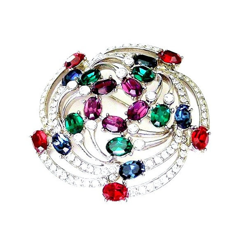 Brilliant Jewel Tone Celestial Brooch Heavy Rhodium Plating image 0