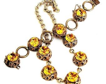 Vintage Art Deco Czech Honey Topaz Necklace Bracelet Set