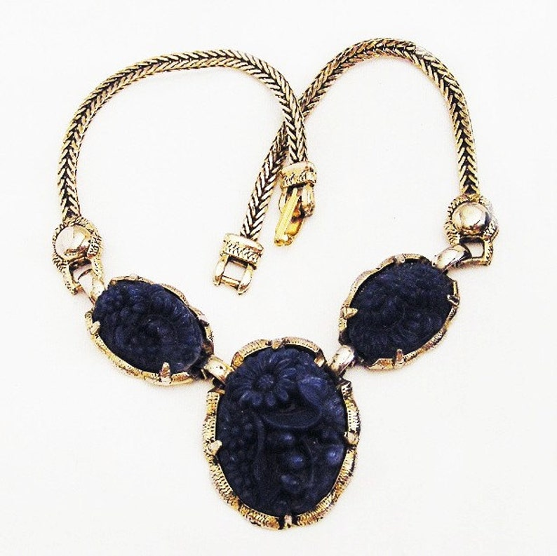 Lapis Blue Glass Carved Floral Necklace Looks Like Selro image 0