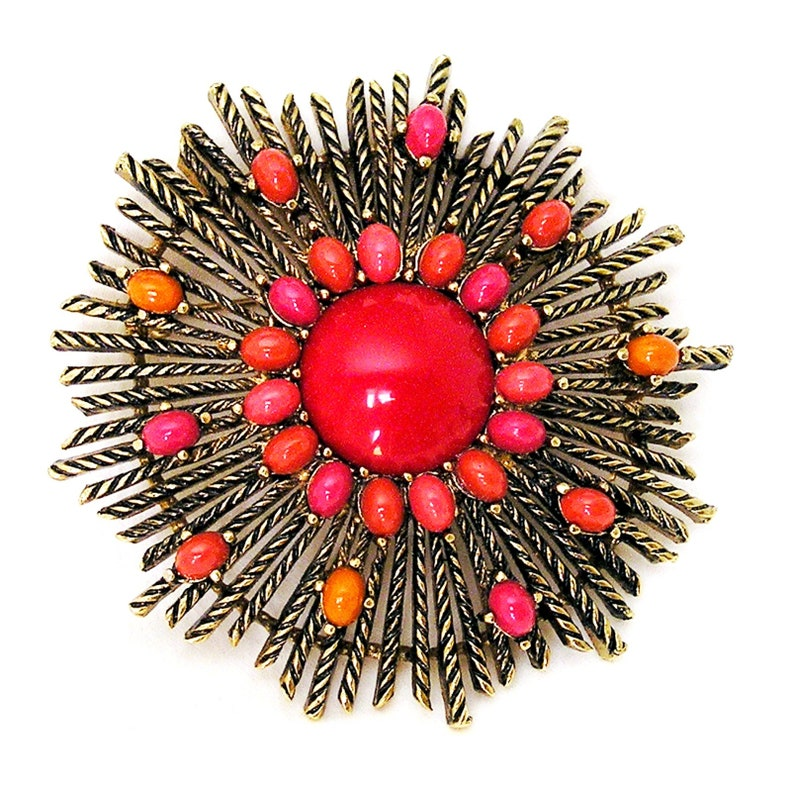 Large Cherry Red and Salmon Glass Cabochon Vintage Brooch image 0