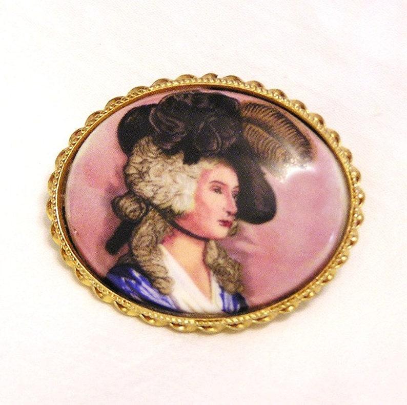 Italian Victorian Portrait Brooch Hand Painted Porcelain image 0