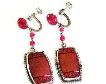 Czech Carnelian and Glass Art Deco Earrings