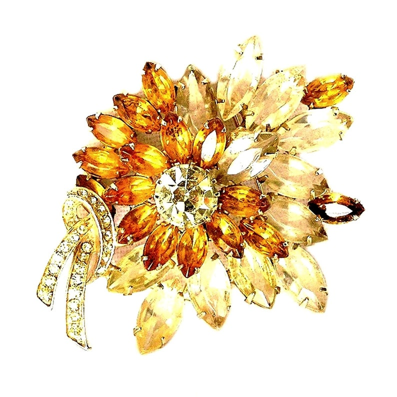Large Yellow Floral Retro Brooch C.1940 image 0
