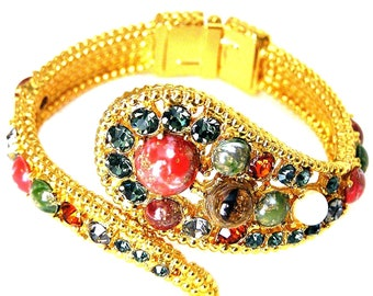 Jeweled Art Glass Cabochons Crystal Stones and Synthetic Pearl Clamper Bracelet