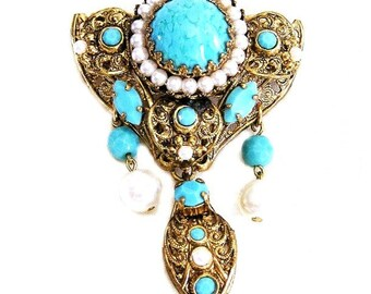 Germany or Austria White Pearl and Aqua Glass Articulated Brooch