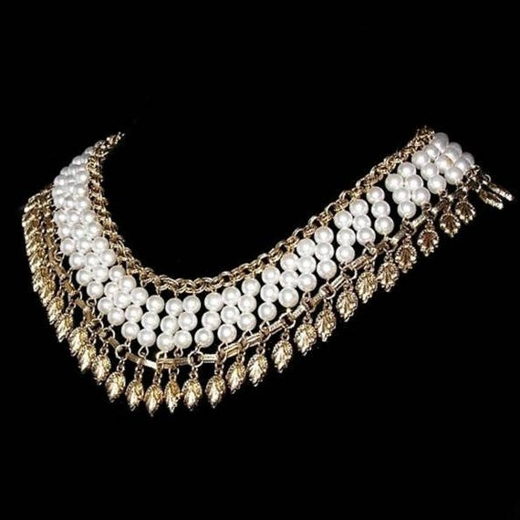 Egyptian Revival Pearl Collar Necklace