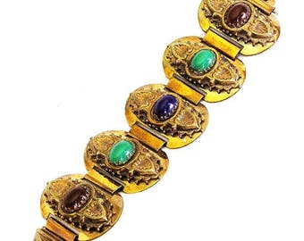 Exceptional Lapis, Jade and Carnelian Glass Cuff Bracelet