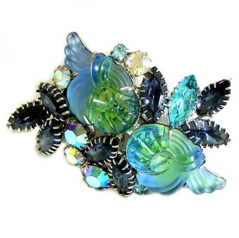 Vintage Edlee Superb Blue Green Molded Glass Brooch image 0
