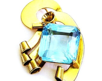 Coro Sterling Craft Aqua Glass 1940s Retro Period Brooch