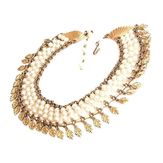 Egyptian Revival Pearl Collar Necklace - image 4