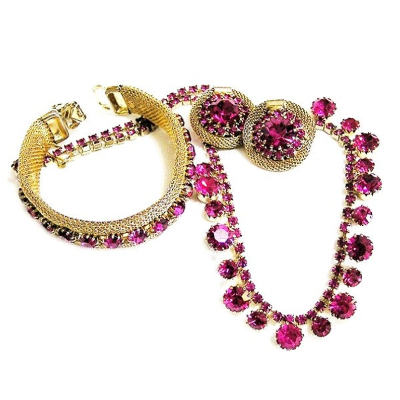 Weiss Hot Pink 3 Piece Set  Necklace Earrings and Bracelet image 0