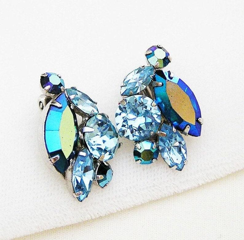 Sherman Blue Aurora Borealis Earrings image 0