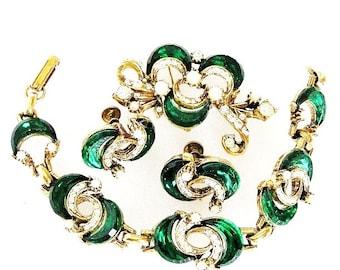 Florenza Early 1950 Emerald Glass, Rhinestone and Pearl Parure