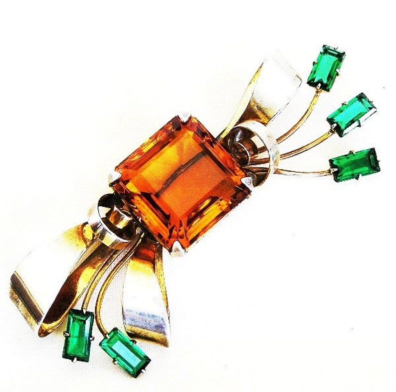 Retro Sterling Topaz and Emerald Glass Bow Brooch image 0