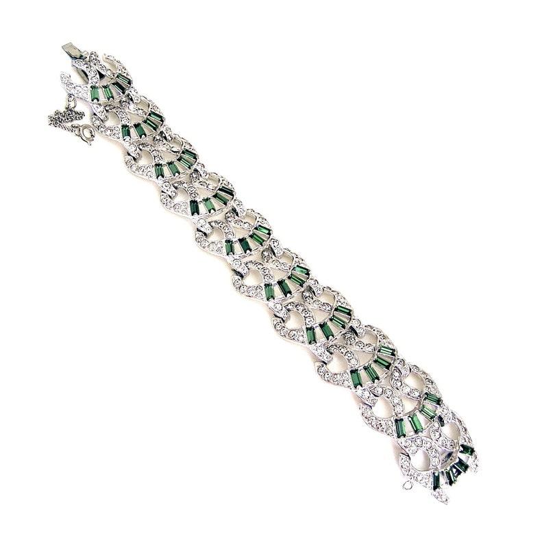 Art Deco Bracelet Olivine Baguettes with Clear Crystals image 0