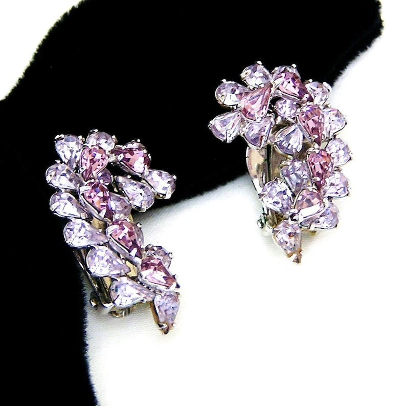 Sherman Signed Lavender and Amethyst Clip On Earrings image 0