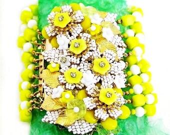 Incredible Stanley Hagler Ian St Gielar Yellow Glass 3 Inch Wide Cuff Bracelet