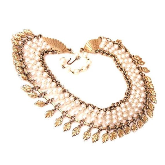 Egyptian Revival Pearl Collar Necklace - image 3