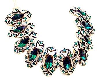 Vintage Dodds Emerald Green Glass Bracelet