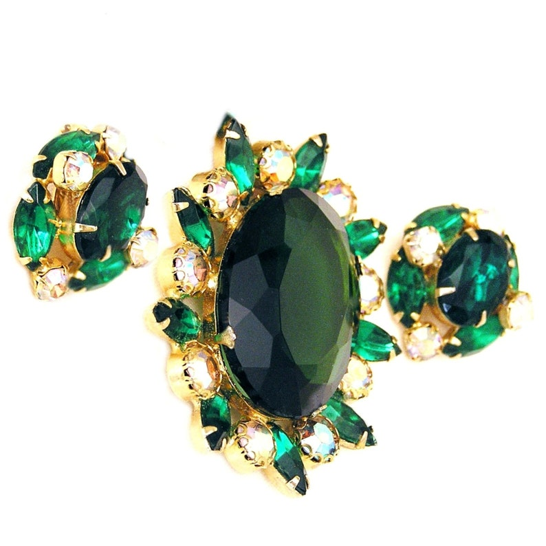 Emerald Green Brooch Set with Sparkly White AB Accents image 0