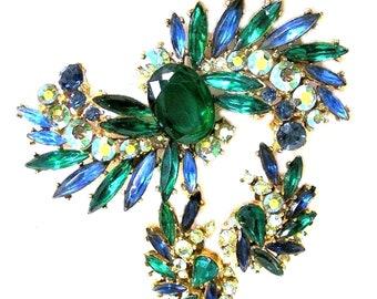 ART Signed Blue Green and Green Aurora Borealis Big Brooch Set