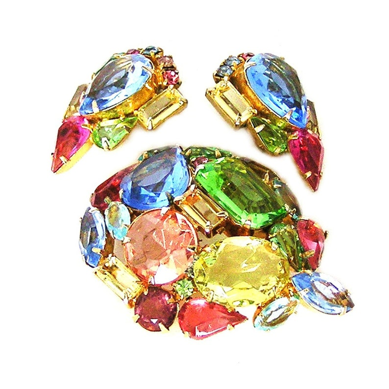 Incredible Brightly Colored Glass Brooch and Earrings Set Demi image 0