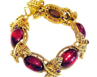 Selro Unsigned Red Glass Amethyst and Pearl Bracelet