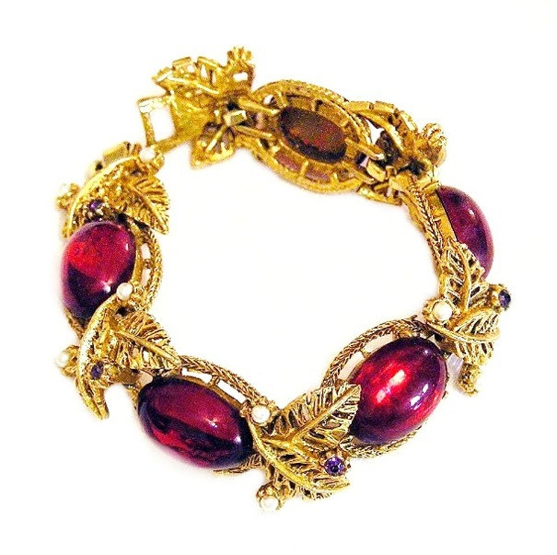 Selro Unsigned Red Glass Amethyst and Pearl Bracelet image 0