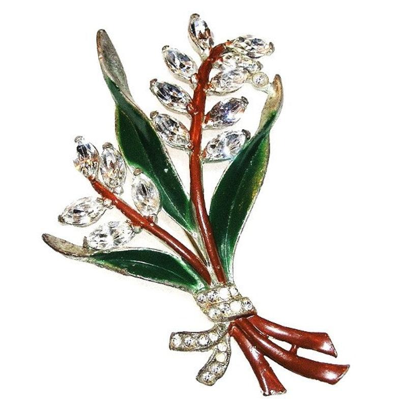 Coro Flower Brooch c.1930-40s Rhinestones and Enamel image 0