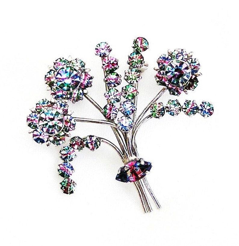 Art Deco Iris Glass Blooming Tree or Bush Figural Brooch image 0