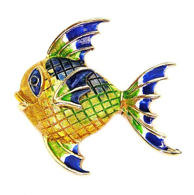 Mandle Signed Colorful Enameled Fish image 0