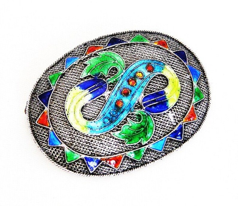 China Silver Import Colorful Enamel Brooch image 0