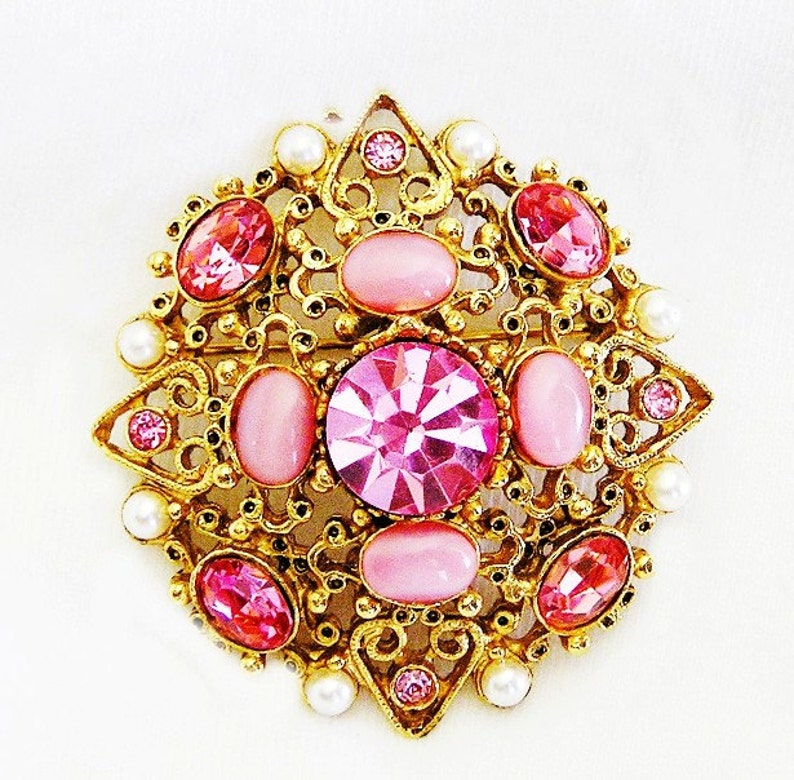 Florenza Pink and Pearl Brooch c.1960 image 0