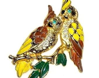 Yellow and Brown Enamel Bird Brooch, c.1940