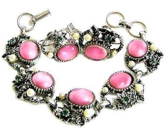 Selro Pink Glass Moonstone and Pearl Bracelet Set