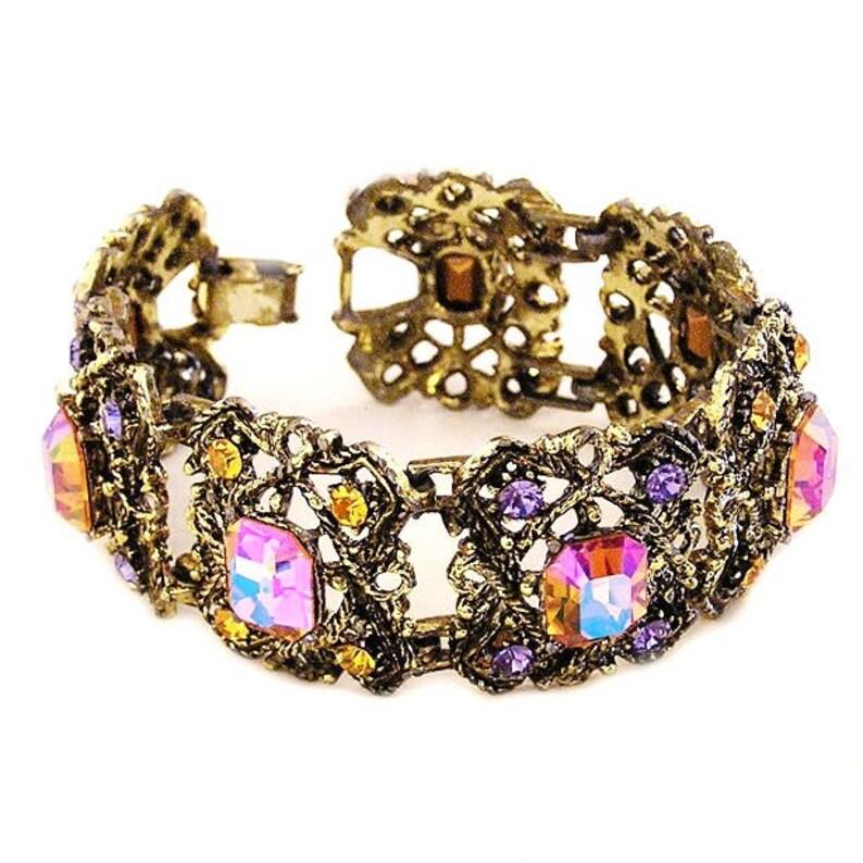 Victorian Revival Long Bracelet c1950's Intense Colors image 0