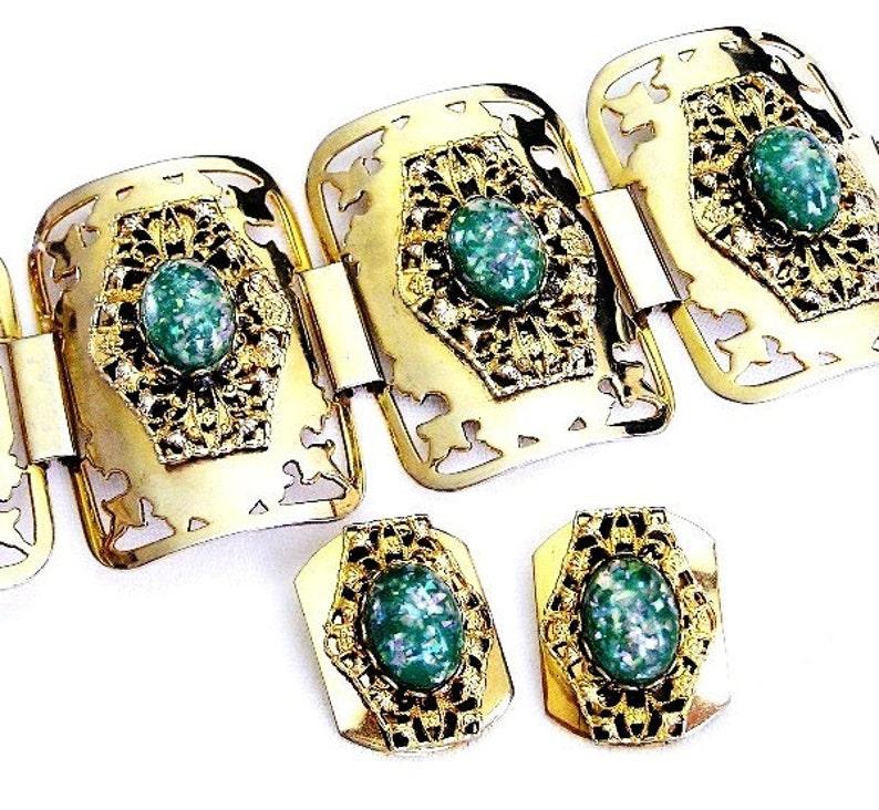 Vintage Aqua Green Confetti Cuff Bracelet Set image 0