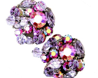 Weiss Lavender and Pink Crystal Faceted Glass Bead Clip On Earrings
