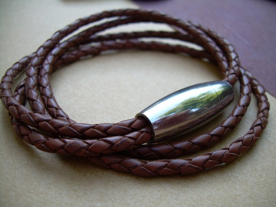 Vegan Braided Bolo Leather Cuff Bracelet with Matted Stainless Steel Magnetic Clasp