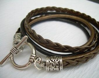Womens Bracelets, Womens Leather Bracelets, Braided Bracelet, Leather Wrap Bracelet, Bronze and Black Leather Bracelet